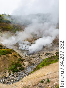 Купить «Exciting view of volcanic landscape, eruption fumarole, aggressive hot spring, gas-steam activity in crater of active volcano», фото № 34207332, снято 7 сентября 2014 г. (c) А. А. Пирагис / Фотобанк Лори