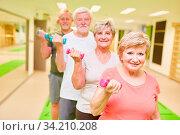 Gruppe Senioren in einem Fitness Kurs beim Training mit Kurzhanteln zum Muskelaufbau. Стоковое фото, фотограф Zoonar.com/Robert Kneschke / age Fotostock / Фотобанк Лори