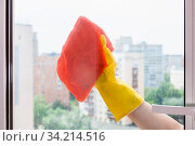 Cleaning glass of home window in urban apartment house by orange rag. Стоковое фото, фотограф Zoonar.com/Valery Voennyy / easy Fotostock / Фотобанк Лори