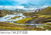 Scenic highland area of Landmannalaugar, Iceland. Стоковое фото, фотограф Zoonar.com/Konstantin Kalishko / easy Fotostock / Фотобанк Лори