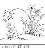 Купить «Illustration of a strawberry bush outline with a berry and flowers», фото № 34221808, снято 15 июля 2020 г. (c) easy Fotostock / Фотобанк Лори