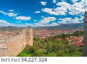 View of the Ohrid town as seen from the castle Samuil, Republic Of Macedonia. Стоковое фото, фотограф Zoonar.com/Pawel Opaska / easy Fotostock / Фотобанк Лори