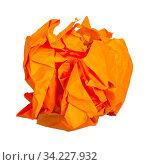Crumpled ball from orange paper isolated on white background. Стоковое фото, фотограф Zoonar.com/Valery Voennyy / easy Fotostock / Фотобанк Лори