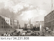 Southwark Church, Southwark, London, England, 19th century. From The History of London: Illustrated by Views in London and Westminster, published c. 1838. Стоковое фото, фотограф Classic Vision / age Fotostock / Фотобанк Лори