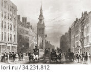 Cheapside, London, England, 19th century. From The History of London: Illustrated by Views in London and Westminster, published c. 1838. Стоковое фото, фотограф Classic Vision / age Fotostock / Фотобанк Лори