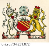 Coat of arms of Manchester, England. From The Business Encyclopaedia and Legal Adviser, published 1907. Стоковое фото, фотограф Classic Vision / age Fotostock / Фотобанк Лори