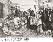The Plague Victims of Rome, after an etching by French artist Alphonse Legros, 1837 - 1911. People stricken with the plague receive the last sacrament... Стоковое фото, фотограф Classic Vision / age Fotostock / Фотобанк Лори