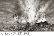 Destruction of the U. S. warship Maine in Havana Harbour, Cuba, February 15th, 1898 an event which contributed to the start of the Spanish-American War which began in April of 1898. Стоковое фото, фотограф Classic Vision / age Fotostock / Фотобанк Лори