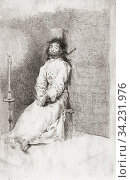 The Garrotted Man - El agarrotado. Etching by Francisco Goya, circa 1780. Стоковое фото, фотограф Classic Vision / age Fotostock / Фотобанк Лори