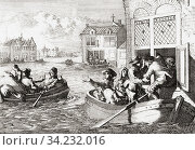 The Paris flood of 1658 when the river Seine rose by 8. 62 metres over 10 days. After a work by Dutch illustrator Caspar Luyken, 1672 - 1708. Стоковое фото, фотограф Classic Vision / age Fotostock / Фотобанк Лори