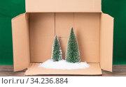 Das Foto zeigt eine Wintermodelllandschaft mit Kunstschnee und verschneiten Tannen in eimem Karton. Стоковое фото, фотограф Zoonar.com/Ralf Kalytta / easy Fotostock / Фотобанк Лори