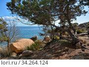 Felsig und steinig ist das Erscheinungsbild der nördlichen Kueste der Insel Sardinien im Mittelmeer. Стоковое фото, фотограф Zoonar.com/JOACHIM G. PINKAWA / easy Fotostock / Фотобанк Лори