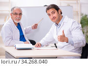 Experienced doctor teaching young male assistant. Стоковое фото, фотограф Elnur / Фотобанк Лори