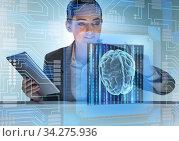 Cognitive computive concept with woman pressing buttons. Стоковое фото, фотограф Elnur / Фотобанк Лори