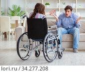 Desperate disabled person on wheelchair. Стоковое фото, фотограф Elnur / Фотобанк Лори