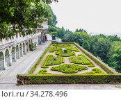 Spectacular view of bublic garden in front of Sanctuary of Bom Jesus do Monte Tenoes. Braga, north of Portugal. Стоковое фото, фотограф Николай Коржов / Фотобанк Лори