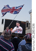 English Defence League founder Tommy Robinson speaking at the Leave means Leave pro Brexit rally at Parliament Square on day that UK was supposed to leave the European Union,London,England,UK. (2019 год). Редакционное фото, фотограф Julio Etchart / age Fotostock / Фотобанк Лори