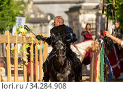 Man dressed as medieval knight riding stallion, smashing lettuce on post. Ommegang religious and historical pageant procession, Brussels, Belgium. June 2019. Стоковое фото, фотограф Kristel Richard / Nature Picture Library / Фотобанк Лори