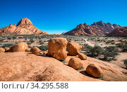 Spitzkoppe, unique rock formation in Damaraland, Namibia. Стоковое фото, фотограф Zoonar.com/Konstantin Kalishko / easy Fotostock / Фотобанк Лори