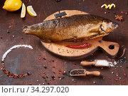 Very tasty hot smoked fish. Стоковое фото, фотограф Тихомирова Ольга / Фотобанк Лори