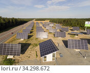 In February 2014, Sweden's first solar park with an output of more than 1 MW was inaugurated. Thanks to Mälarenergi's collaboration with the owners, Kraftpojkarna... Стоковое фото, фотограф Andre Maslennikov / age Fotostock / Фотобанк Лори