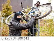 Zwei Fahrraddiebe klauen ein Fahrrad und heben es über einen Zaun. Стоковое фото, фотограф Zoonar.com/Robert Kneschke / age Fotostock / Фотобанк Лори