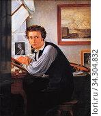 Blunck Ditlev Conrad - the Copperplate Engraver Carl Edvard Sonne - Danish School - 19th and Early 20th Century. Редакционное фото, фотограф Artepics / age Fotostock / Фотобанк Лори