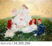 Baes Firmin - Picknick in Het Gras - Belgian School - 19th and Early 20th Century. Редакционное фото, фотограф Artepics / age Fotostock / Фотобанк Лори