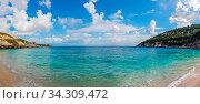 Amazing turquoise waters on the Xigia Sulfur Beach in summer on Zante Island, Greece. Стоковое фото, фотограф Zoonar.com/Pawel Opaska / easy Fotostock / Фотобанк Лори