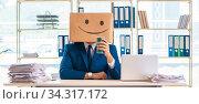 Happy man with box instead of his head. Стоковое фото, фотограф Elnur / Фотобанк Лори