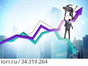 Businessman saving competitor during the crisis. Стоковое фото, фотограф Elnur / Фотобанк Лори