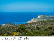 Panoramic view of the cliffs near Shipwreck Cove in summer on Zante Island, Greece. Стоковое фото, фотограф Zoonar.com/Pawel Opaska / easy Fotostock / Фотобанк Лори