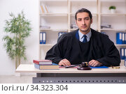 Young male judge working in courthouse. Стоковое фото, фотограф Elnur / Фотобанк Лори