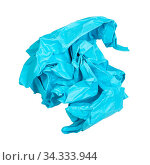 Crumpled blue paper ball isolated on white background. Стоковое фото, фотограф Zoonar.com/Valery Voennyy / easy Fotostock / Фотобанк Лори