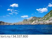 The coastline of the Crimea in the area of Novyy Svet. View from the Black sea (2020 год). Стоковое фото, фотограф Natalia Sidorova / Фотобанк Лори