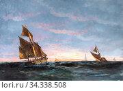 Drachmann Holger - Kuttere Ud for Skagen - Danish School - 19th and... (2020 год). Редакционное фото, фотограф Artepics / age Fotostock / Фотобанк Лори