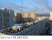 Девятиэтажный четырёхподъездный панельный жилой дом серии I-515/9Ш, построен в 1974 году. Уссурийская улица, 1, корпус 3. Район Гольяново. Город Москва (2012 год). Стоковое фото, фотограф lana1501 / Фотобанк Лори