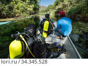 Scouting the river on a small boat driven by an electric motor ready to dive, Formoso River, Bonito, Mato Grosso do Sul, Brazil. Редакционное фото, фотограф Franco  Banfi / Nature Picture Library / Фотобанк Лори
