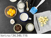 Купить «baking and cooking ingredients on table», фото № 34346116, снято 13 февраля 2020 г. (c) Syda Productions / Фотобанк Лори