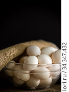 organic homemade fresh eggs in a glass bowl under burlap. Стоковое фото, фотограф Peredniankina / Фотобанк Лори