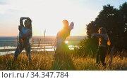 Aerobics in nature - three young women doing aerobic dance and slow movements with their hands on sunset. Стоковое видео, видеограф Константин Шишкин / Фотобанк Лори