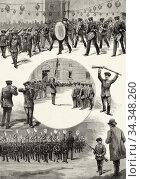 Celebrations of May 1890 in Madrid, the school battalion parading... Стоковое фото, фотограф Jerónimo Alba / age Fotostock / Фотобанк Лори