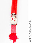 Red dip pen draws red line with blot on white paper by wide nib close... Стоковое фото, фотограф Zoonar.com/Valery Voennyy / easy Fotostock / Фотобанк Лори