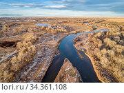 South Platte River and riverside park at Evans, Colorado, aerial view... Стоковое фото, фотограф Zoonar.com/Marek Uliasz / easy Fotostock / Фотобанк Лори