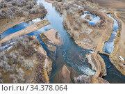 Water diversion on SOuth Platte River in Colorado, aerial view. Стоковое фото, фотограф Zoonar.com/Marek Uliasz / easy Fotostock / Фотобанк Лори