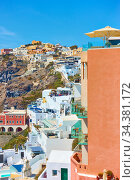 Terraces of Fira town in Santorini (2018 год). Стоковое фото, фотограф Роман Сигаев / Фотобанк Лори