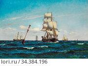 Locher Carl Ludvig - Sailing Ships at Sea - Danish School - 19th ... (2020 год). Редакционное фото, фотограф Artepics / age Fotostock / Фотобанк Лори