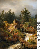 Achenbach Andreas - Bergige Landschaft Mit Bach Und Wassermühle - ... Редакционное фото, фотограф Artepics / age Fotostock / Фотобанк Лори