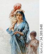 Bach Guido - an Egyptian Mother and Her Children - German School - ... Редакционное фото, фотограф Artepics / age Fotostock / Фотобанк Лори