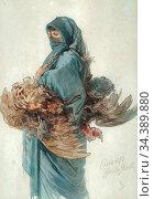 Bach Guido - an Egyptian Woman Carrying a Brace of Chickens - German... Редакционное фото, фотограф Artepics / age Fotostock / Фотобанк Лори